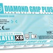 ถุงมือลาเท็กซ์ ชนิดไร้แป้ง Diamond Grip Plus Powder-Free latex Glove, Size XS